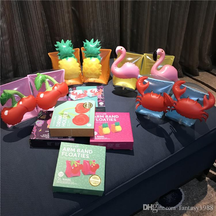 Kinder Aufblasbare Arm Band Schwimmen Armbinde Flamingo Krabben Baby Schwimmringe Safty Hilfsmittel Aufblasbare Float Schwimmarm Ring