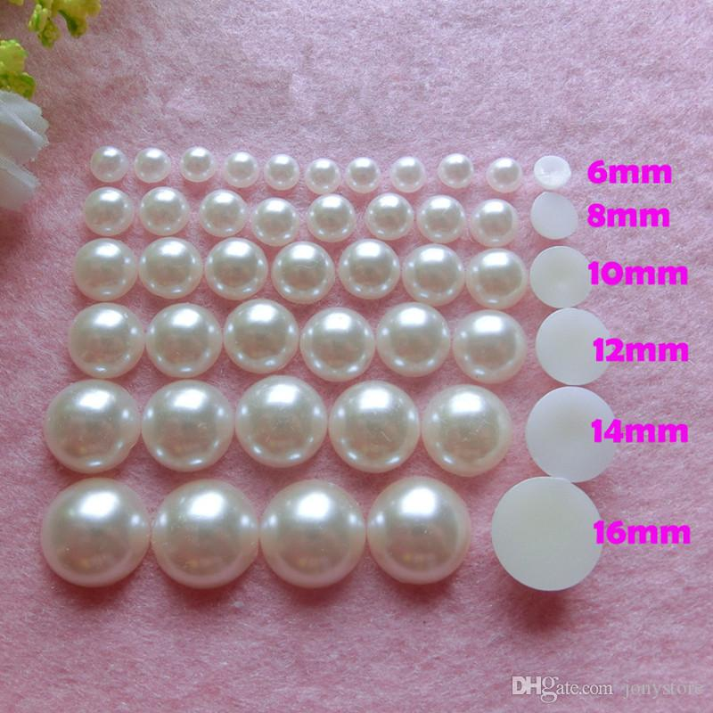 500pcs 6-18mm Semicircle Pearl Flat Back Buttons no hole (pearl white) DIY Embellishment Jewelry Craft Acessory