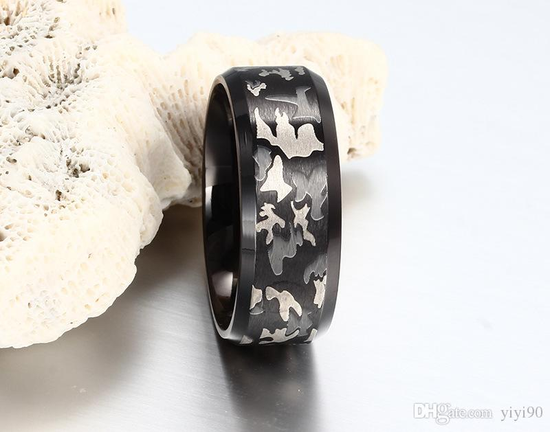 Moda 8 mm camuflaje banda negra anillos de acero inoxidable tamaño 6/7/8/9/10 titanium acero Womem hombres boda compromiso regalo
