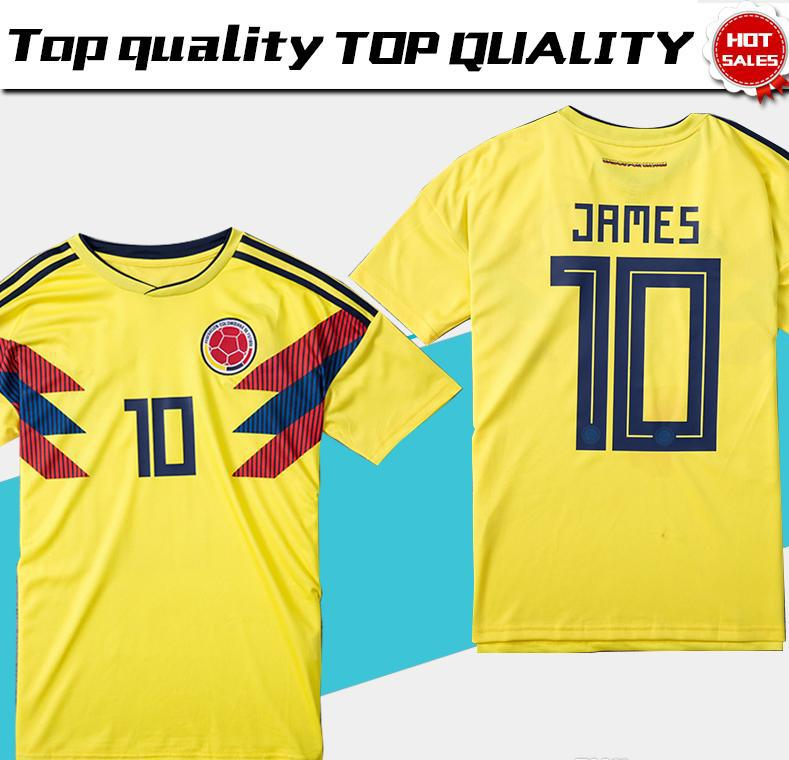d92cba8f7e0 2018 world cup Colombia soccer Jersey Colombia Home yellow Soccer shirt  2018 world cup #10 JAMES Thai Football uniform sales