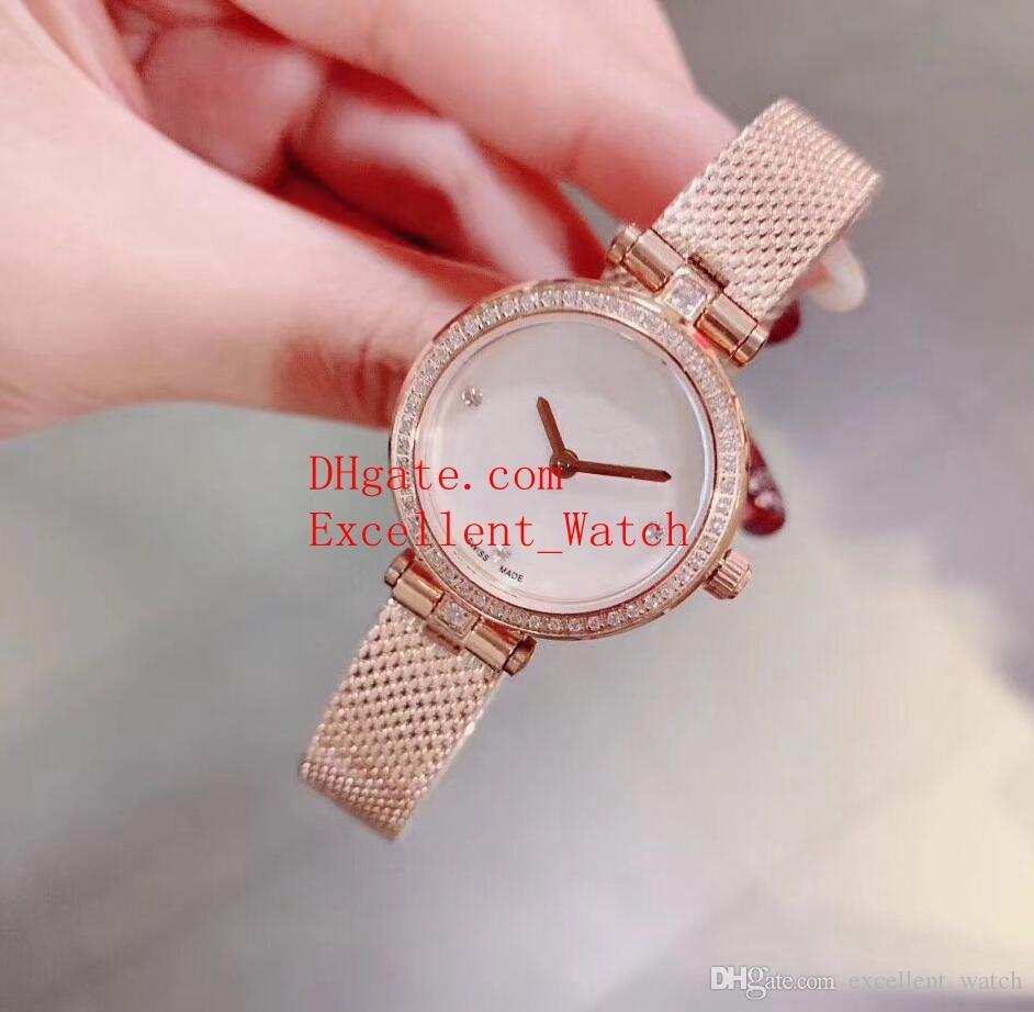 0f2bcd54d769 Hot Sell Fashion Ladies watches Swar ovski 18k Rose Gold Diamond White  Pearlmaster Quartz Ladies Watch Women's Watches