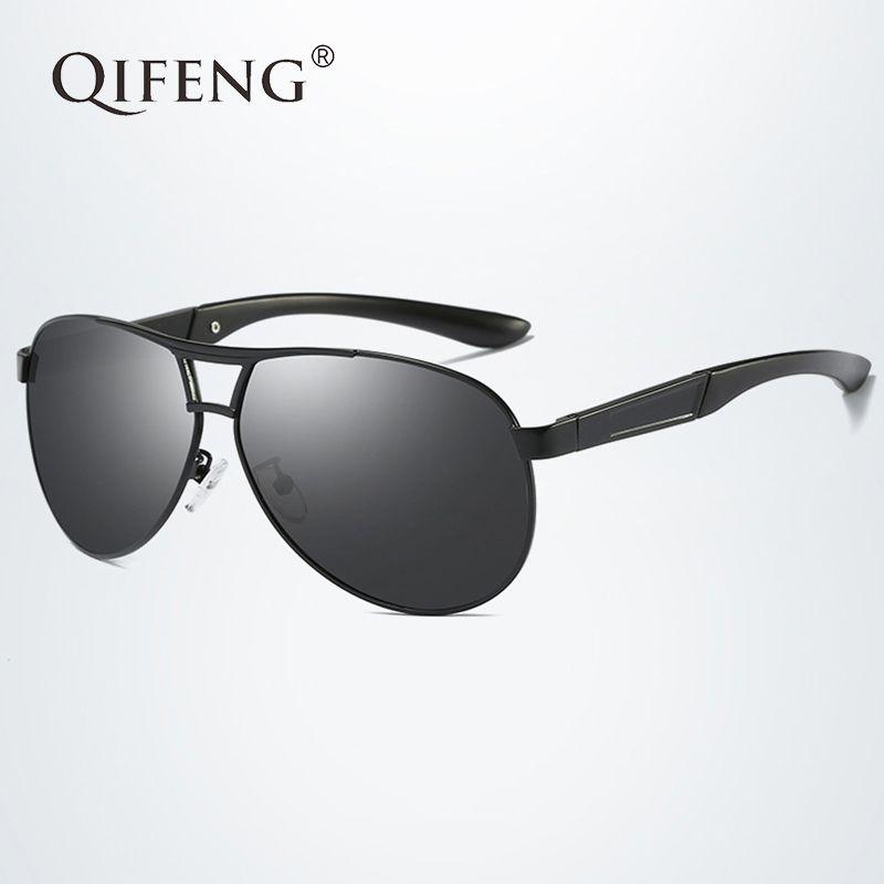 6a49cb65e1f21 Compre QIFENG Piloto Gafas De Sol Polarizadas Hombres Moda Marca Aviador  Gafas De Sol Para UV400 Hombre Conducción Pesca Oculos De QF005 A  16.34  Del ...