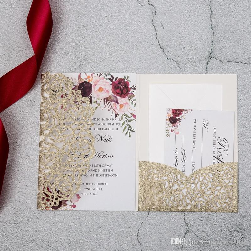 Gold Glitter Tri Fold Invitation Card With Rsvp Pocket Envelope For Wedding Marriage Anniversary Party Laser Cut Flora Mordern Invites