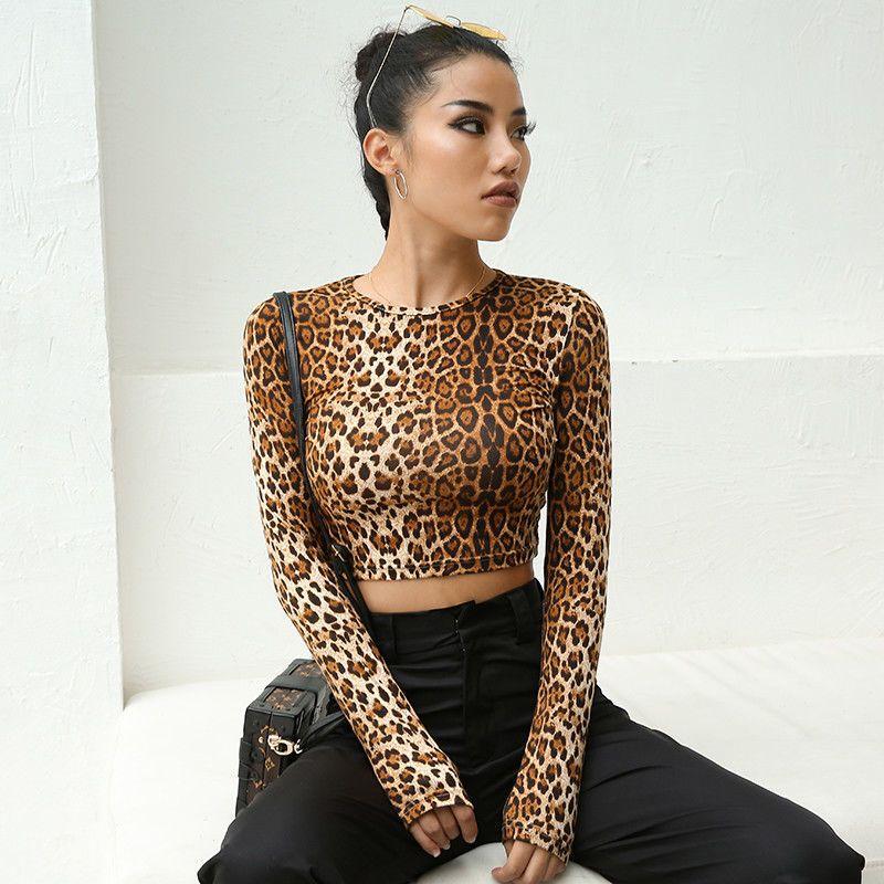06ed6588858 New Women T Shirt Slim Leopard Print Long Sleeve Top Casual Crop Top T Shirt  Sexy Women Clothes Fashion T Shirt Designer Graphic T Shirts From  Wanglon06, ...