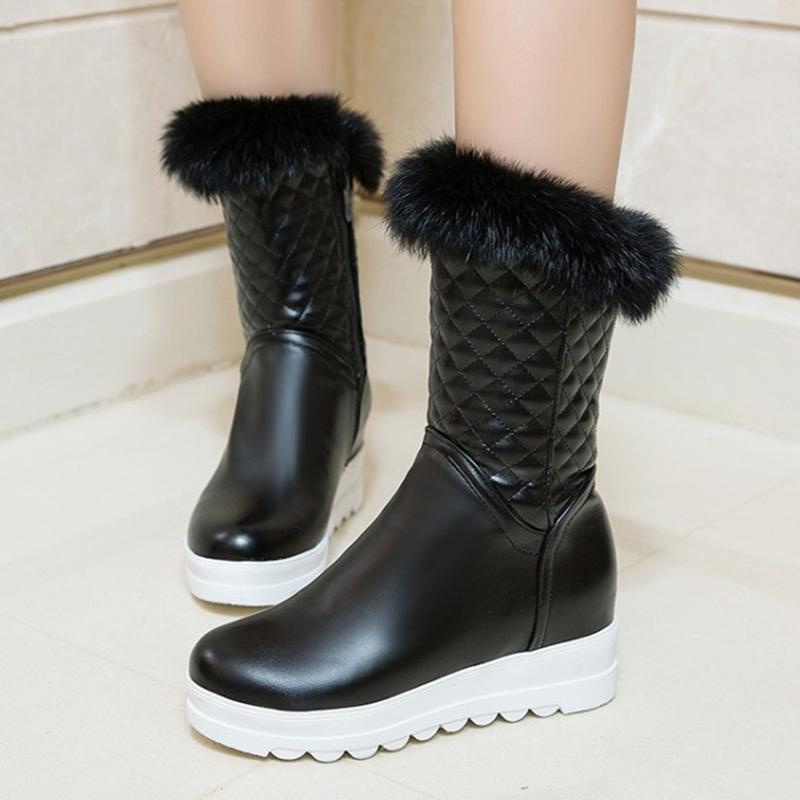 817d73d1f Compre S. Romance 2018 Mulheres Botas Plus Size 34 43 Moda Dedo Do Pé  Redondo Botas De Neve Feminino Inverno Bota Mulheres Sapatos Preto Branco  Rosa SB169 ...