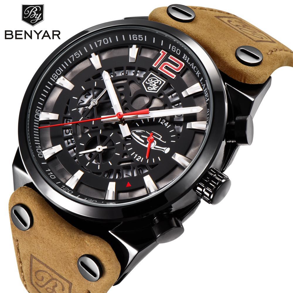 8fc55542f41 Compre Benyar Marca Cronógrafo Esportes Homens Relógios Moda Militar Relógio  De Quartzo De Couro À Prova D  água Relogio Masculino Zegarek Meski  C18110601 ...
