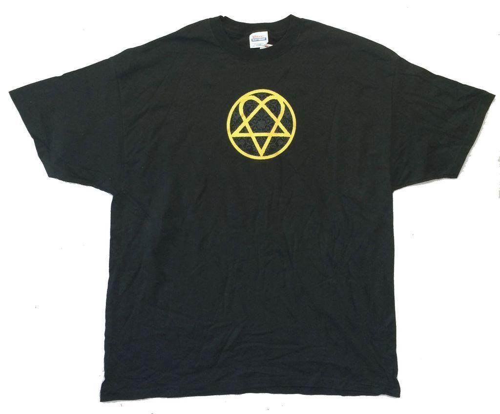 bceab073484 Him H.I.M. Filigree Gold Heartagram Image Black T Shirt New Official Retro  Tee Shirts T Sirts From Yuxin08