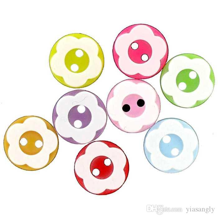13mm Mixed Resin Buttons Round with Flower 2-hole Sewing Dress Button Embellishments for Scrapbooking