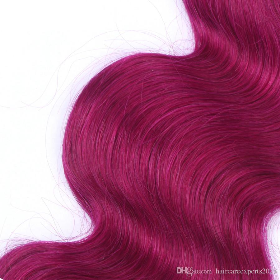ELIBESS волосы -предварительно покрашенные Т1Ь/ темно-красный цвет Бразилии Remy человеческих волос 3 связки ломбер человеческих волос 100G/шт