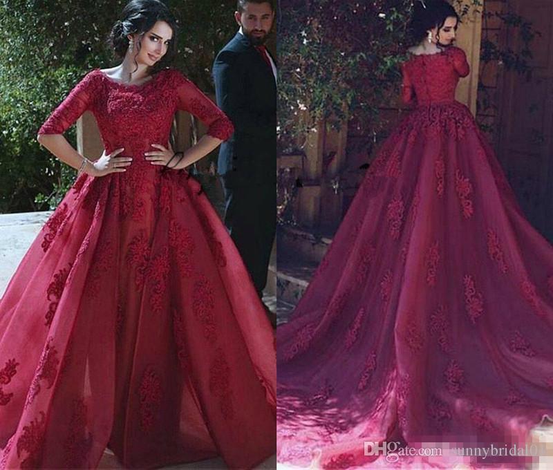 2018 Dubai Árabe vestidos de noche con tren desmontable borgoña de encaje de tul apliques barrido tren de manga larga vestido de fiesta de graduación
