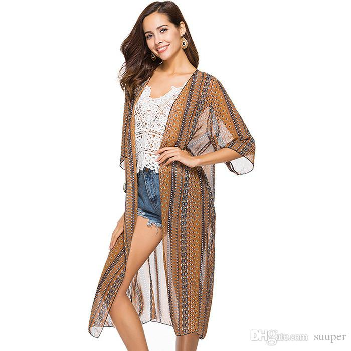low priced 45ddc 614d0 2018 Beach Party Boho Style Stampa Maxi Long trasparente Bikini Cardigan  Coprire Top Mezze maniche sciolto Flying Top Tops