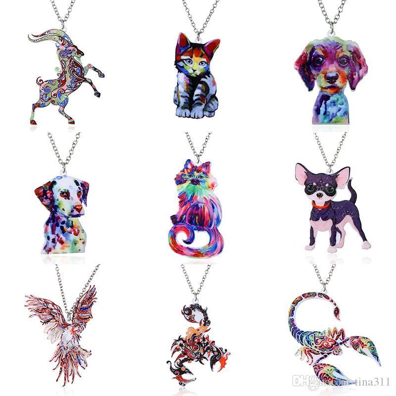 Nuevo Colorido Acrílico Animal Collar Colgante Cadena de Joyería de Moda Regalo para Las Mujeres Chica 20 unids / lote T2C320