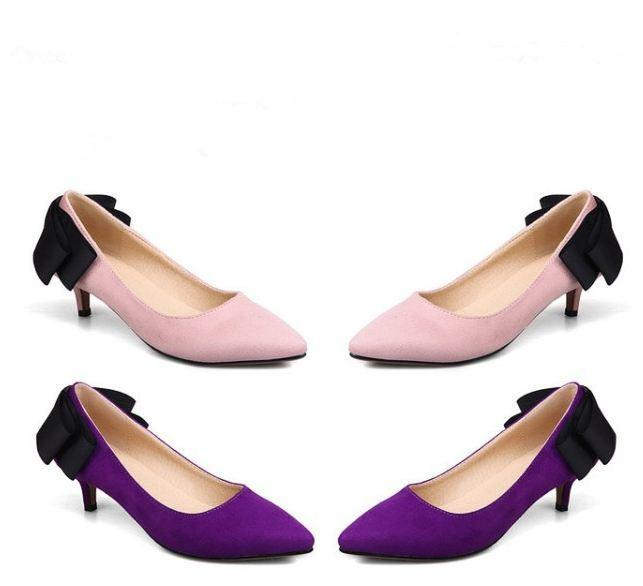 Women Low Small Fine Heel With Bow Bowknot Single Shoe 32 43 Code Women S  Black Pink Purple Shoes Surprise Price Silver Wedges Brown Wedges From  Iwalkers07
