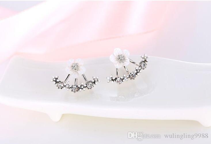 Anti allergic Pure silver jewelry 925 Sterling silver Earrings daisy flower Stud Earring front and back two sided stud earrings Ear nail