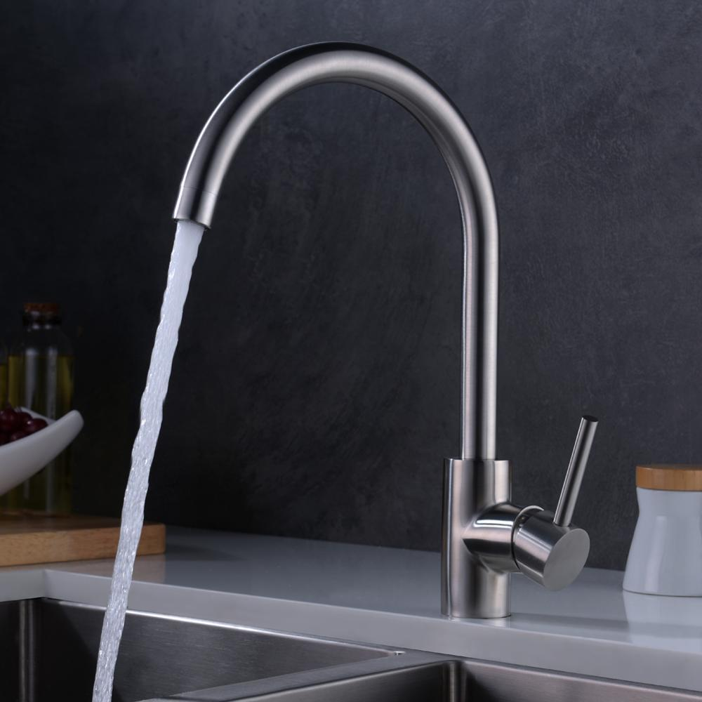 2018 Brushed Nickel Stainless Steel Kitchen Sink Faucet Lead Free ...