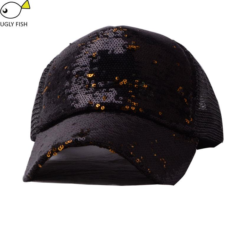 adc12323919099 Sequin Hat Baseball Cap Women Summer Black Glitter Baseball Cap Mesh Dad Hat  For Women Mesh Flat Caps For Men Womens Baseball Hats From Vineer, ...