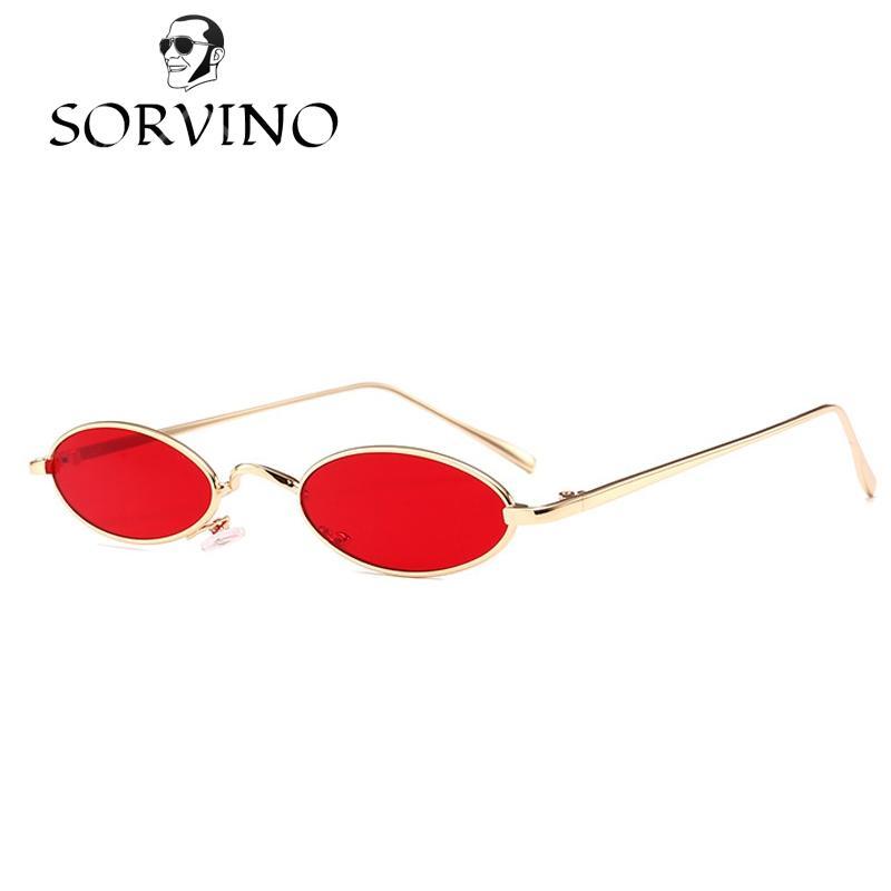 0ee43cf280f3d Compre SORVINO 2018 Pequeno Oval Óculos De Sol Das Mulheres Dos Homens Da Marca  Designer Roxo Lente Vermelha 90 S Estreito Magro Minúsculo Óculos De Sol Da  ...