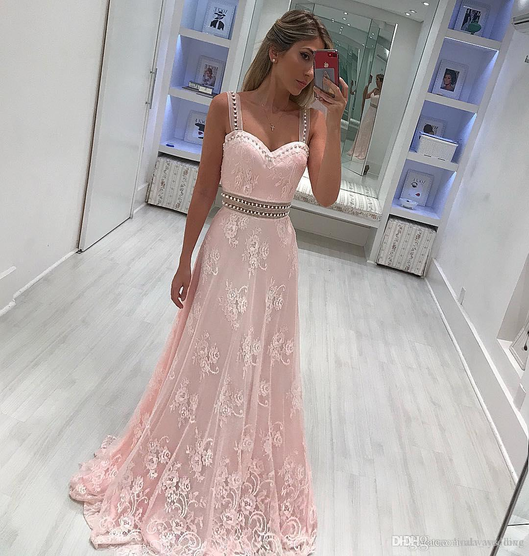 b5bdb490a05 2018 Light Pink Prom Dress Spaghetti Straps Lace Long Formal Pageant  Holidays Wear Graduation Evening Party Gown Custom Made Plus Size Black Prom  Dress Camo ...