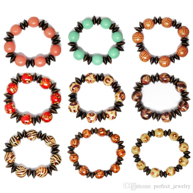 Wooden Bead Bracelet Mix 9 Styles Stretch Strands Chain Round Colorful Pattern Flower Floral Stripe Abacus Wood Beads Bracelets New (JM007)