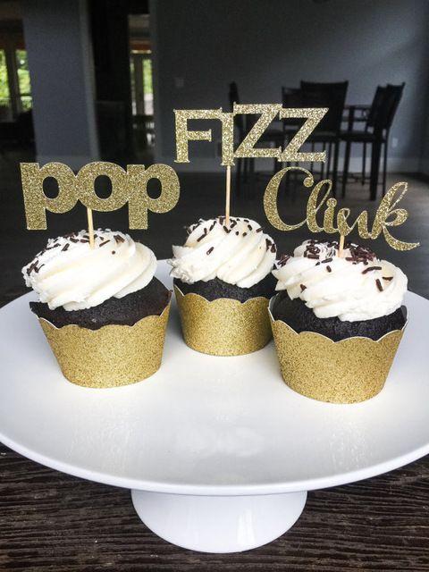 Glitter Pop Fizz Clink Birthday Wedding Cupcake Toppers Luau Jungle Party Cake Decoration Doughnut Food Picks Kids Themed Supplies Ladybug