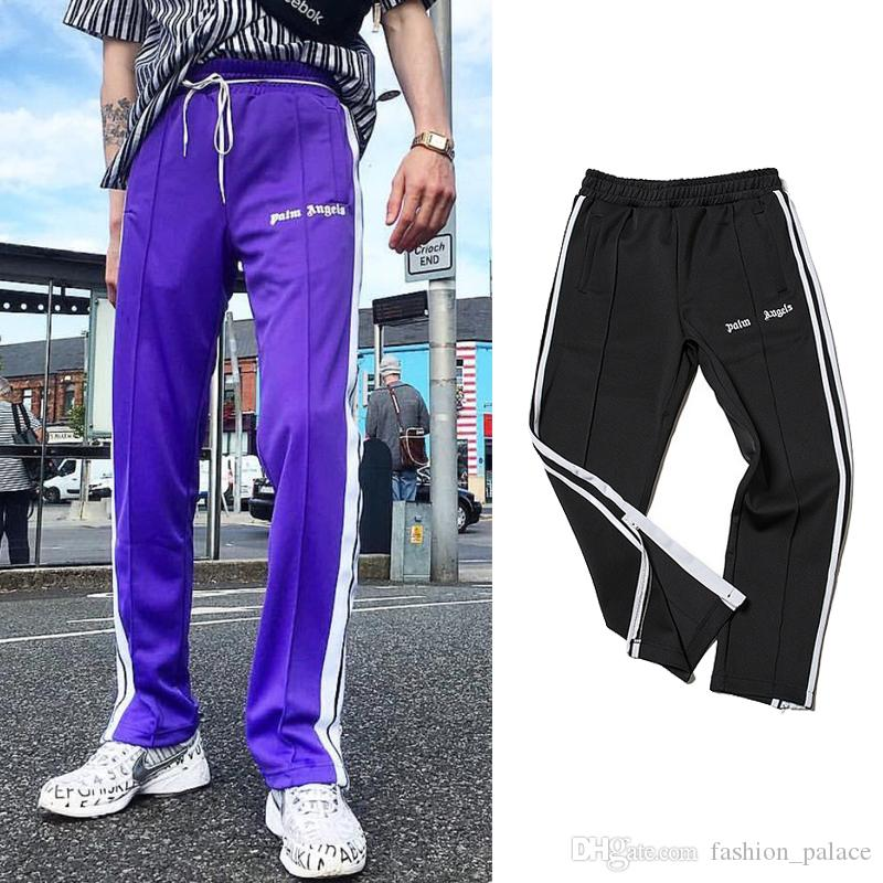 452372a1202f 2019 Palm Angels Track Pants Men Women Fashion Side Stripe Casual Pants  Black Purple Ankle Zipper Jogger Pants Hip Hop Trousers From  Fashion palace, ...