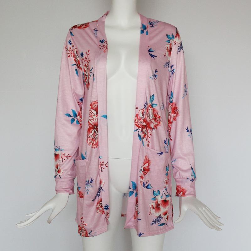Vêtements de printemps de cardigan floral US Europe de style haut contraste occasionnel manches longues mince manteau Top Vêtements Top pour les ventes