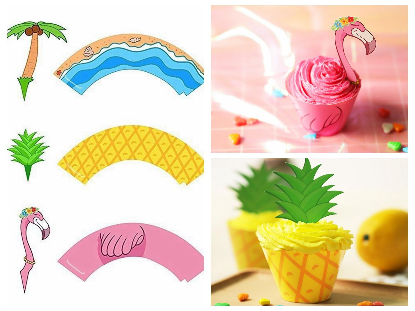 Flamingo Pineapple Palm Cupcake Toppers Wrappers Hawaiian Wedding Birthday Party Supplies Cake Dessert DIY Decorations DDA452 Kids Kits
