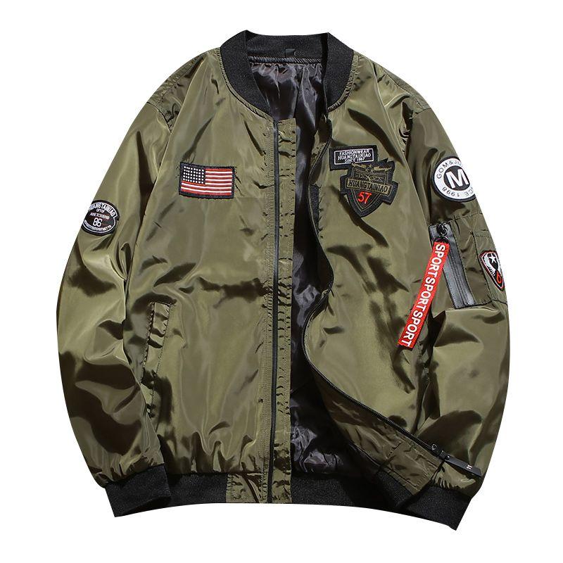 a96c74f1218 Fashion Men Bomber Jacket Hip Hop Patch Designs Slim Fit Pilot Ma1 Bomber  Jacket Coat Men Jackets US Size XS 2XL Denim And Fur Jacket Site Jacket  From Sogga ...