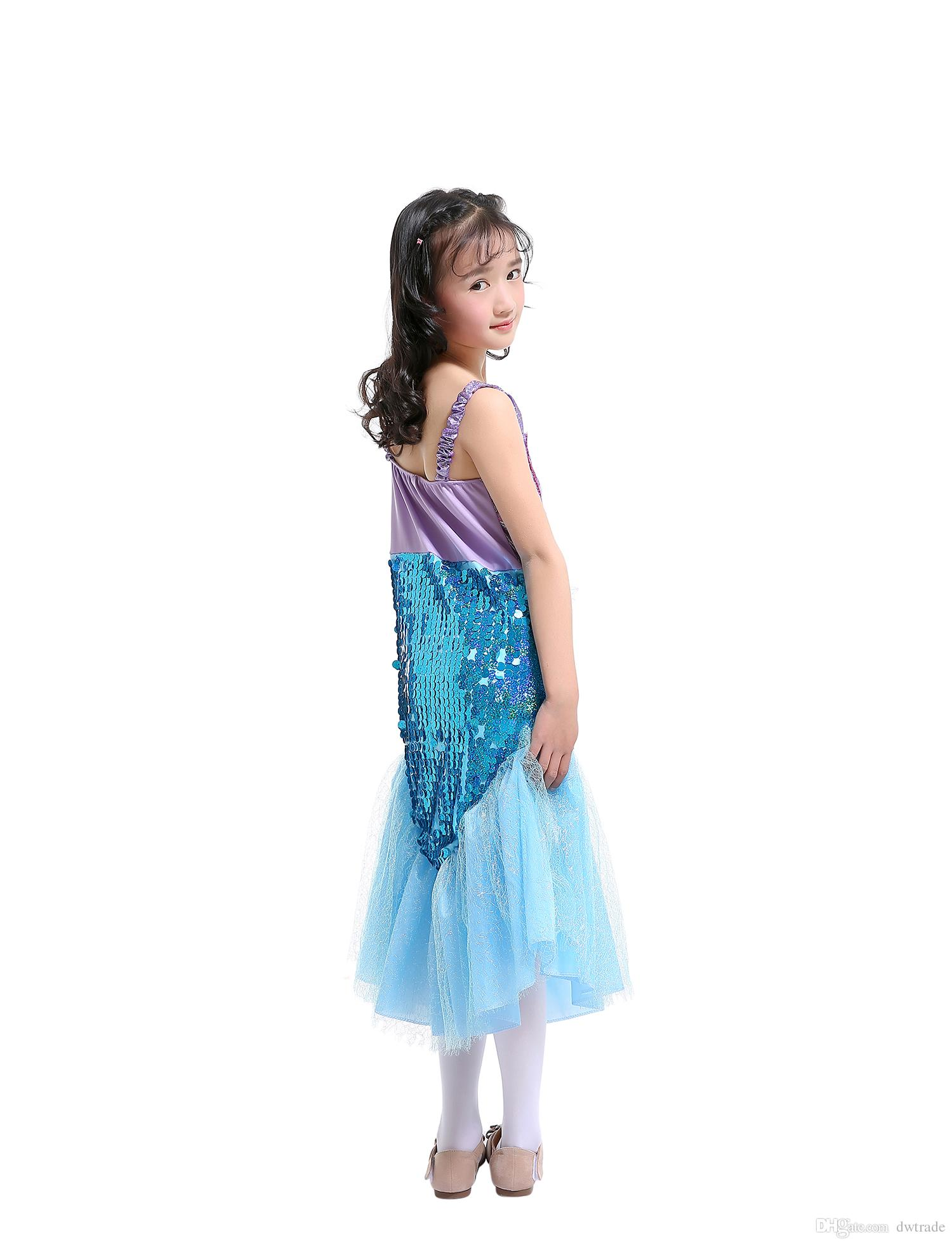 Girls Sequins Mermaid Tail Long Mesh Yarn Sling Dress Princess Dress Halloween Child Performance Costumes Dress for Christmas Party Birthday