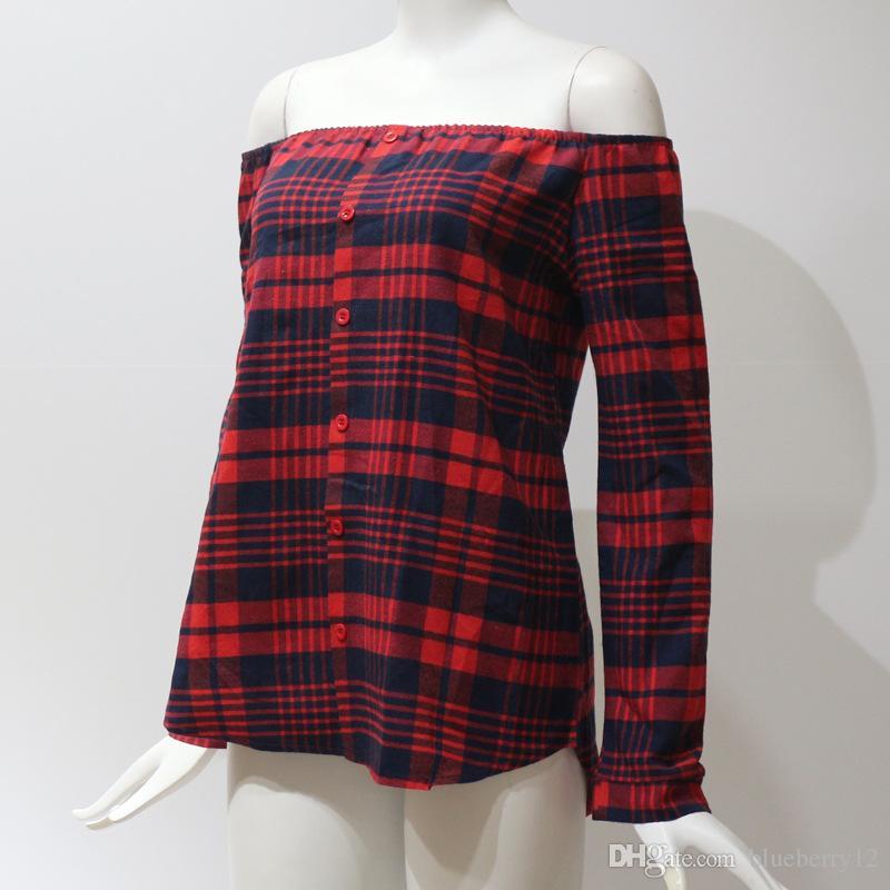 Primavera Mulheres Xadrez T-shirt Slash Pescoço Mangas Compridas Único Mama Pulôver Das Mulheres Grid Impresso Fora Do Ombro Blusa