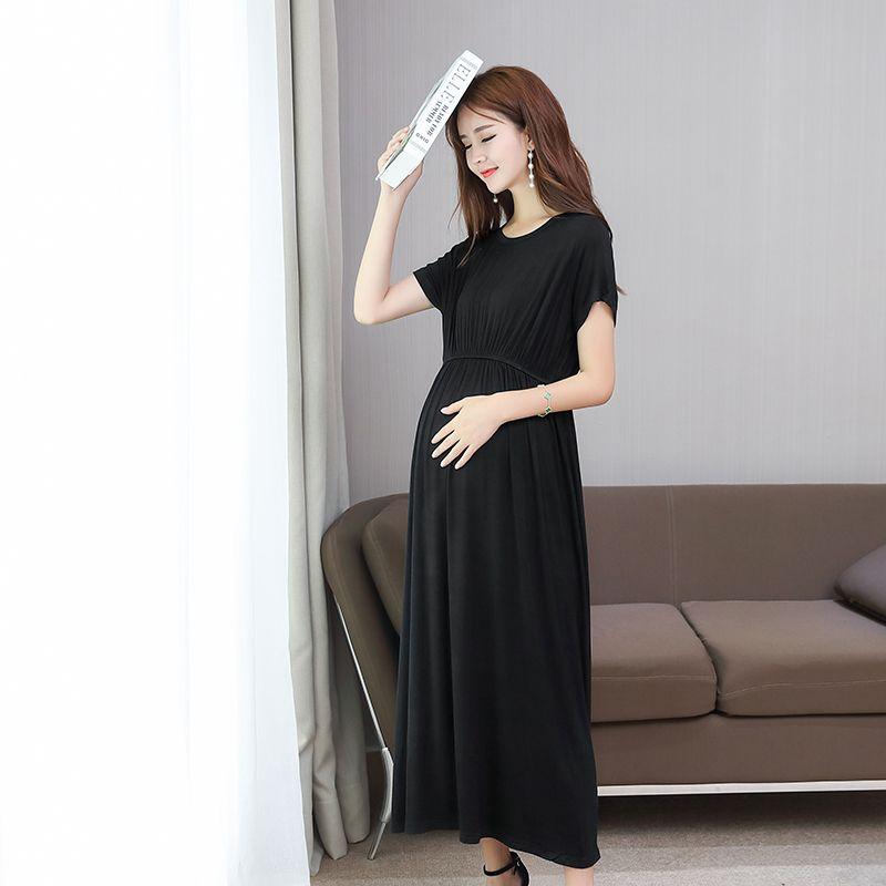 6a19ec7f652f 2019 Modal Maternity Full Maxi Long Dress Summer Fashion Slim Waist ...