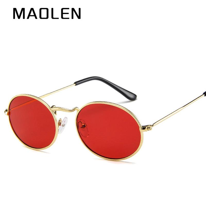 Maolen 2018 New Small Oval Sungl Size Men Male Black Round Metal Frame Sun Gl For Women Mirror Uv400 Kids From