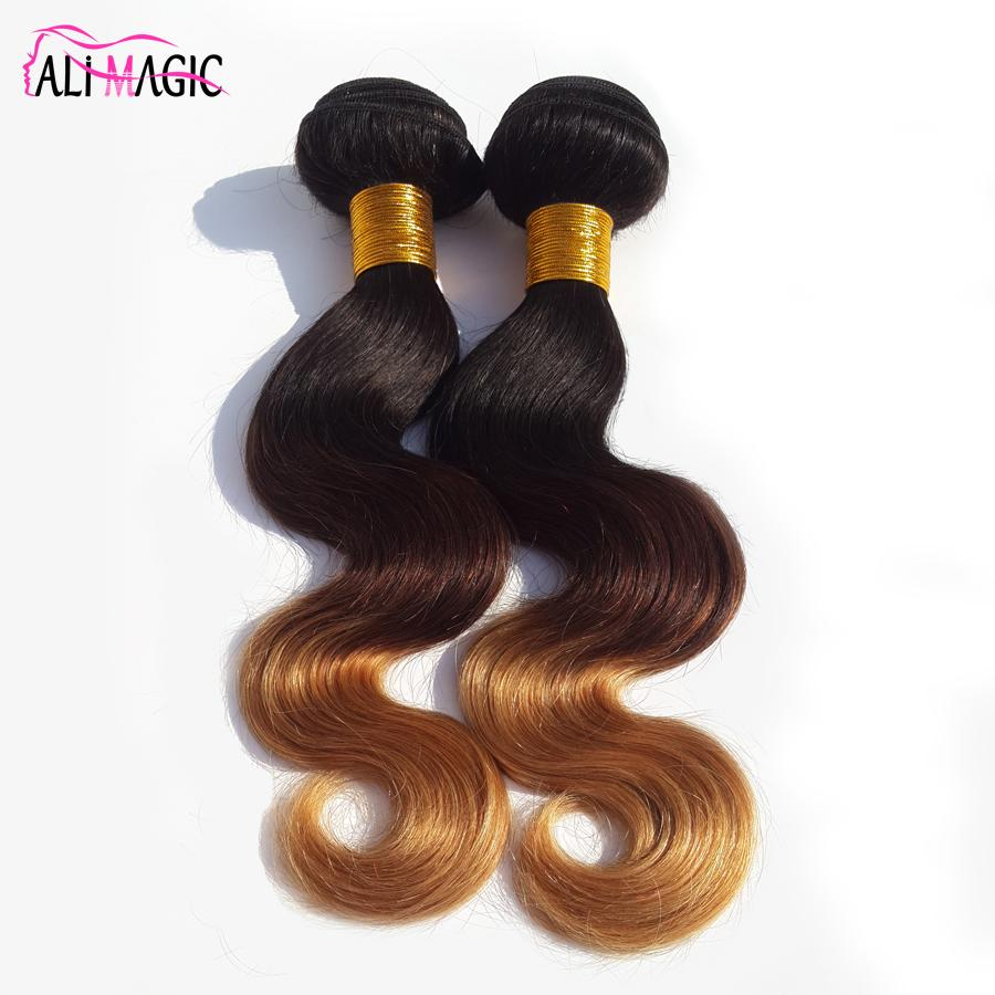 AliMagic Factory Outlet Three Tone Body Wave Ombre Hair Weave 1b/4/27 Blonde Ombre Virgin Human Hair 3Pcs 100g/pcs Brazilian Peruvian