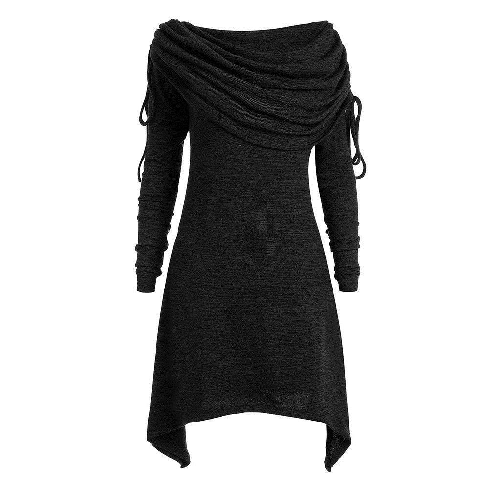 2f9439fd05434 2018 Fall Gothic Casual Office Lady Plus Size 5XL Women Mini Dresses Cotton  Plain Asymmetric Pleated Girls Big Sizes Short Dress Party Dresses Summer  Shop ...