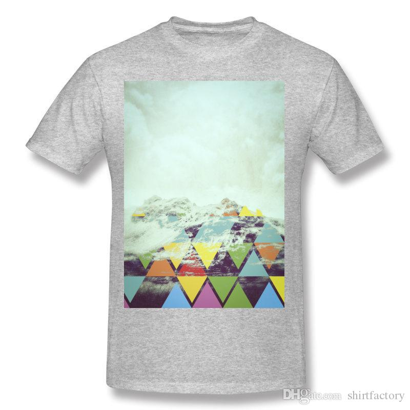 Wholesale Men's Cotton Triangle Mountain Tee Shirt Men's Round Collar White Short Sleeve T Shirt Plus Size Normal Tee Shirt