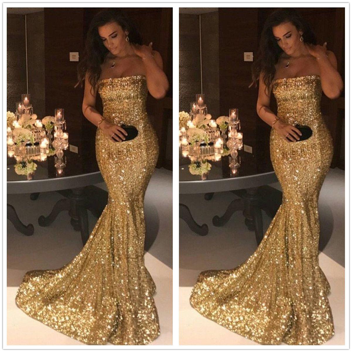 05099d77be146 Golden Strapless Sequined Mermaid Long Prom Dresses 2018 Sleeveless  Sparklng Backless Floor Length Formal Party Evening Dress Von Maur Prom  Dresses White ...