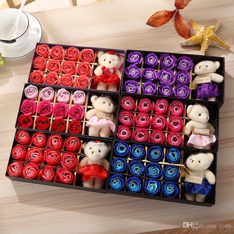 Romantik Gül Sabun Çiçek Ile Küçük Sevimli Ayı Bebek 12 adet Kutu Hediye Sevgililer Günü Hediyeleri Için Düğün Hediyesi veya doğum günü Hediyeleri