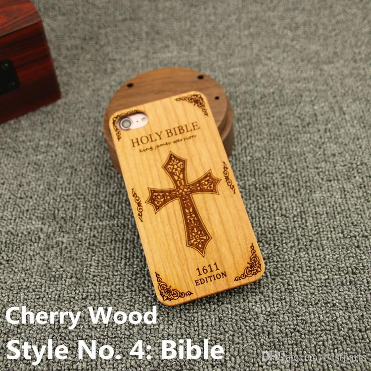 Style No. 4 Bible Fashionable Classy Snap-On Real Projector Wood Wooden Bamboo TPU Rear Back Cover Case for iPhone X 8 7 6S 6 Plus 5 5S SE