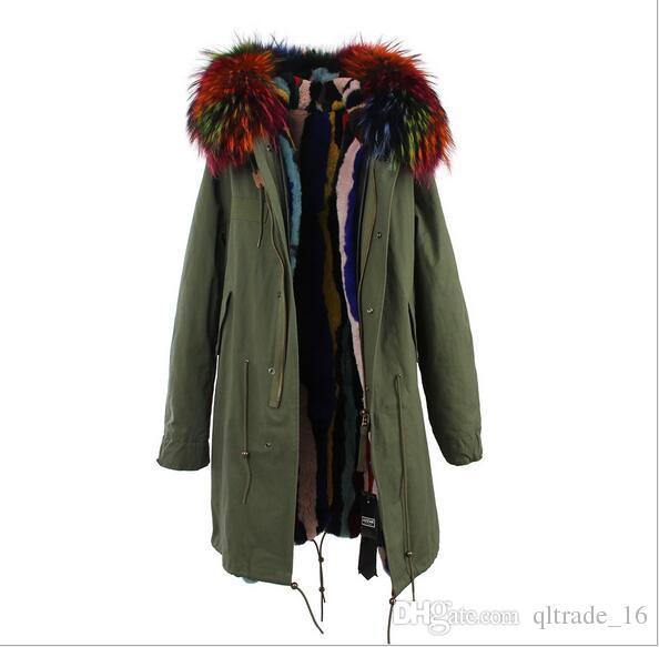 Новое прибытие Jazzevar серый мех отделка 100% серый белый кролик меховая подкладка серый синий длинные куртки длинный стиль зима снег меховые парки