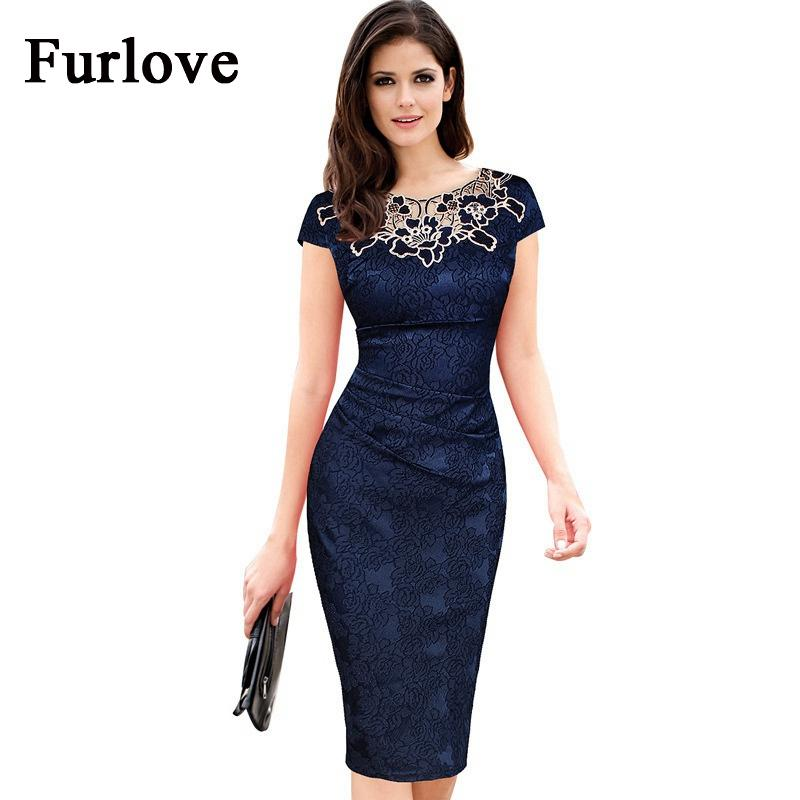 3e0c4597e869 Elegante vestido de verano de las mujeres de la vendimia bordado floral de  manga corta hasta la rodilla delgado bodycon lápiz vaina vestidos de ...