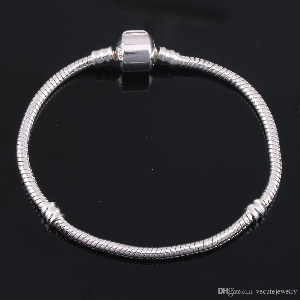 Wholesale 925 Sterling Silver Plated Basic Snake Chain Bracelet DIY Charms Beads Jewelry Fit Pandora Bracelets & Bangles 3MM 16cm-23cm