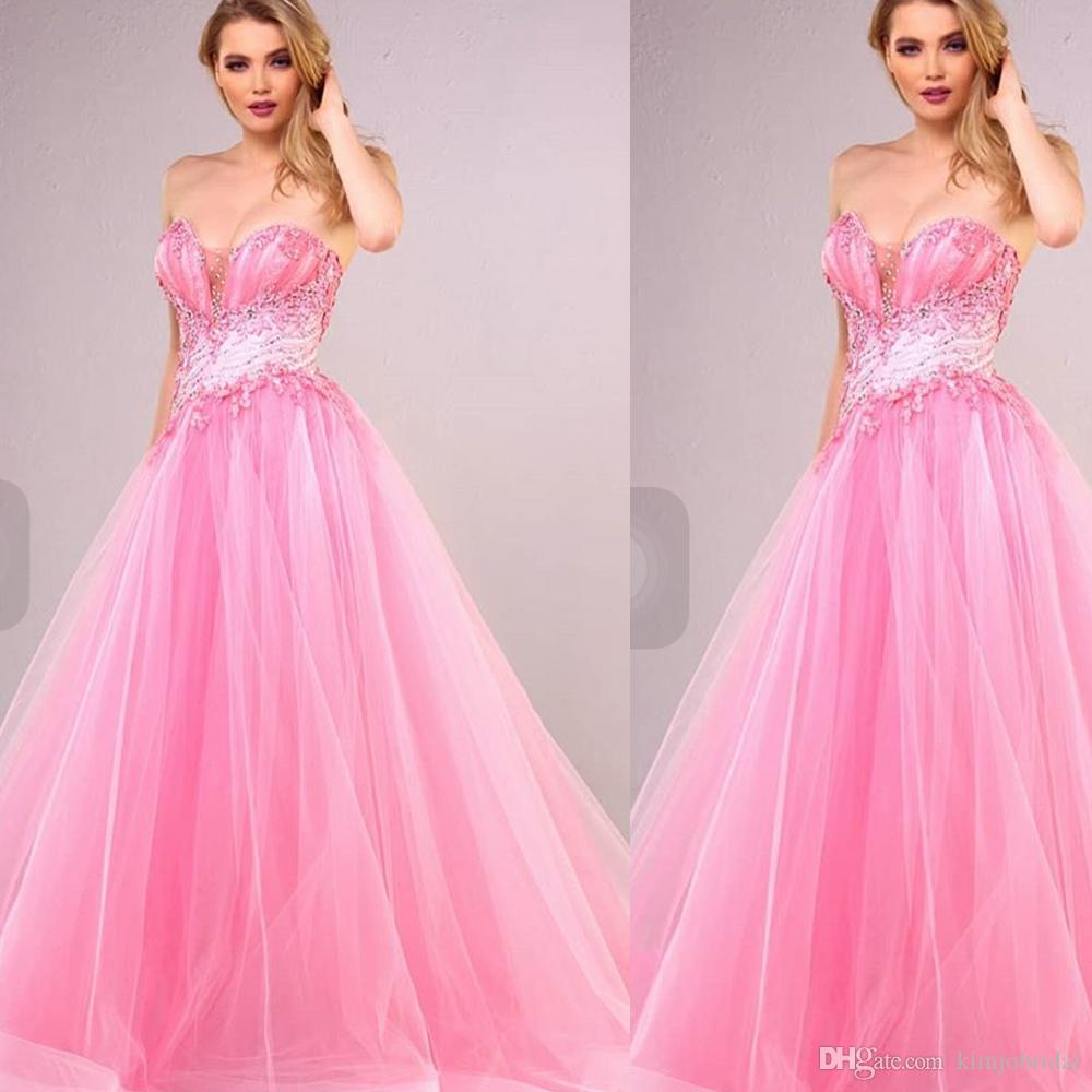 84c2073015d 2018 Pink Prom Dresses 2018 Sweetheart Neckline Beading Sequins Lace  Appliques Ball Gown Long Evening Dresses Gowns Arabic Short Lace Dress  Short Prom ...