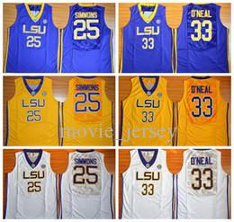 59b0c7096b4 2019 University Basketball LSU Tigers Jerseys 33 Shaquille ONeal O Neal 25  Ben Simmons Jersey Men College Yellow Team Purple Away White Sports From ...
