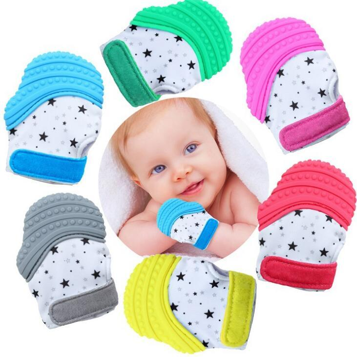 Baby Pacifier Gloves Toddler Teething Mittens Nursing Teething Glove Safe Silicone Teether Toys Teether Chewable Glove AAA521