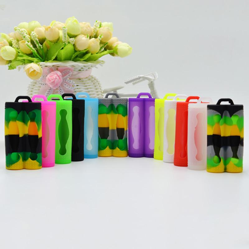 Funda protectora de silicona para piel Protege la protección de seguridad Estuches de goma coloridos para la batería Sony vtc3 vtc4 vtc5 Doble doble 18650 baterías DHL