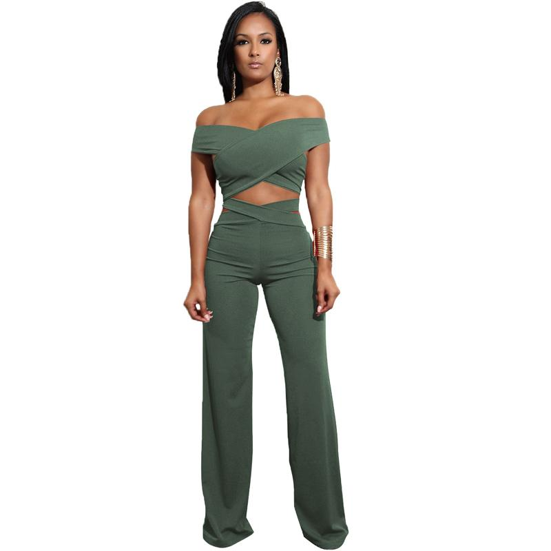 4913fa2f93bbd0 2019 Fashion Solid Sexy Women Set Night Clubwear Off Shoulder Crop Top+Full  Length Trouser Female Wide Leg Pant Summer Two Piece From Baldwing