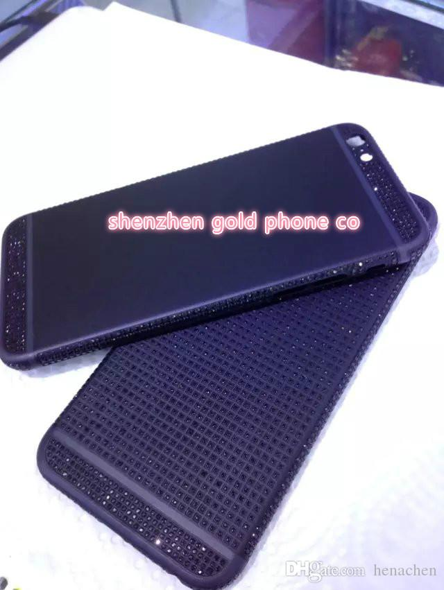 2018 real 24K gold black partial DIAMOND crystal Plating Battery Back Housing Cover Skin for iPhone 6 24kt Limited golden crystal with deep