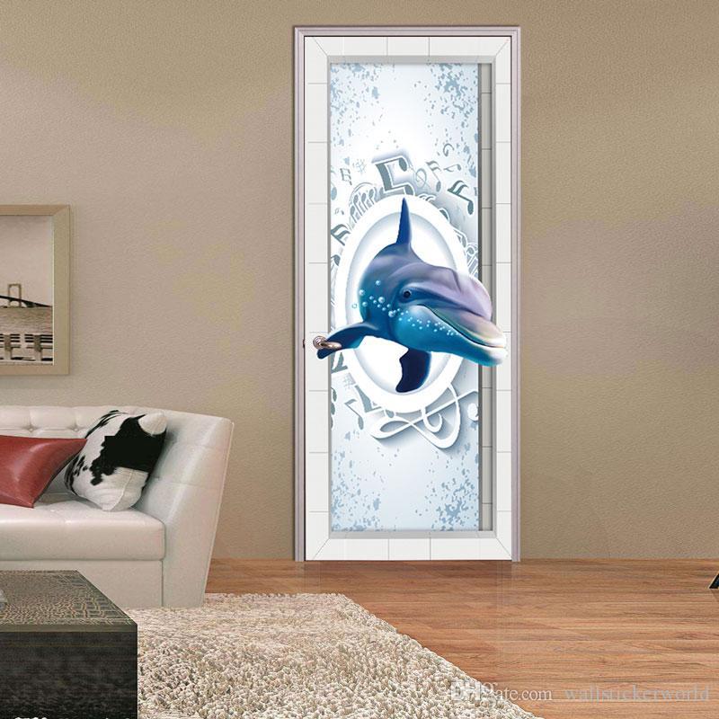2 Unids / set 3D Música Delfín Etiqueta de La Pared Mural Cotizaciones Dormitorio Autoadhesivo Puerta Reformado Pegatinas Decoración para el hogar