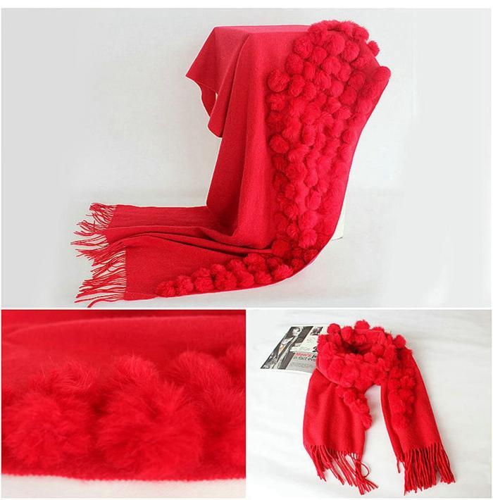 2018 pashmina fur shawl scarf for women High Quality Plain Rabbit Fur Pom Pom Winter Thick Pashmina Poncho lady elegant wraps