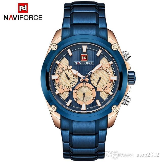 e680b176edd Compre DHL Atacado Top Marca De Luxo NAVIFORCE Azul Relógio De Ouro Homens  Moda Esporte Quartz Mens Relógios De Aço À Prova D  Água Relógio Relogio ...